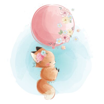 Poster Cute Fox Flying with Flowery Balloon