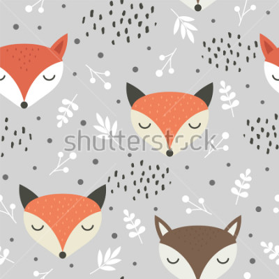 Poster Cute fox seamless pattern, wolf hand drawn forest background with flowers and dots, vector illustration