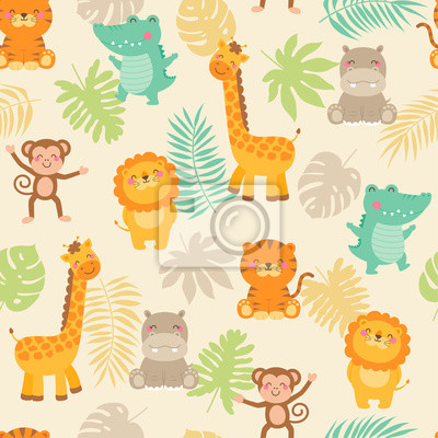 Poster Cute jungle animals with leaf seamless pattern background