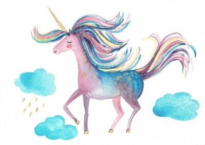 Poster Cute unicorn on a white background for design