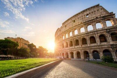 Poster Das Kolosseum em Rom Itália no Sonnenuntergang