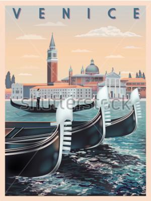 Poster De manhã cedo em Veneza, Itália. Modelo de viagem ou cartão postal. Todos os edifícios são objetos diferentes. Handmade desenho ilustração vetorial. Estilo vintage.