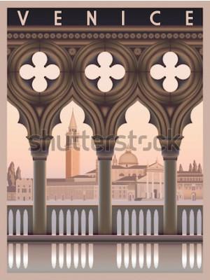 Poster De manhã cedo em Veneza, Itália. Modelo de viagem ou cartão postal. Todos os edifícios são objetos diferentes. Ilustração em vetor desenho artesanal. Estilo vintage.