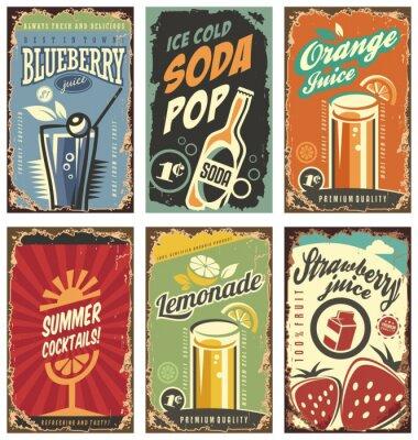 Poster Decoração de parede retro com sucos e bebidas conjunto