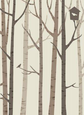 Poster Decorativo, silhuetas, árvores, pássaro, birdhouse
