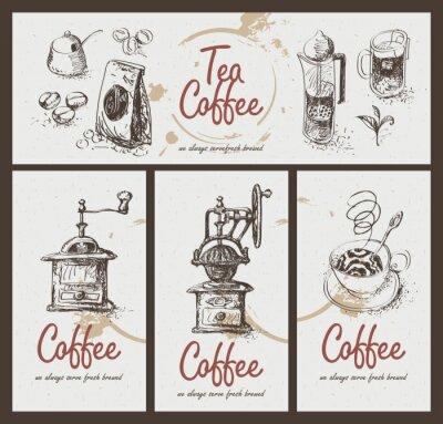 Poster definir desenho utensílios para beber chá e café