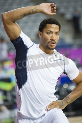Poster Derrick Rose of USA Team at FIBA World Cup basketball match between USA and Mexico, final score 86-63, on September 6, 2014, in Barcelona, Spain