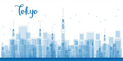 Poster Descrição da foto: Arranha-céus da cidade de Tokyo na cor azul.