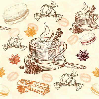 Poster desenhado mão padrão café
