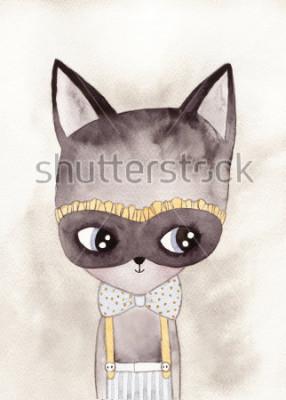 Poster desenho aquarela de carnaval gato