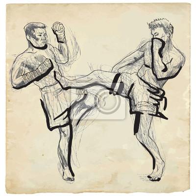 Desenho Da Mao Em Vetor Muay Thai Arte Marcial Da Tailandia