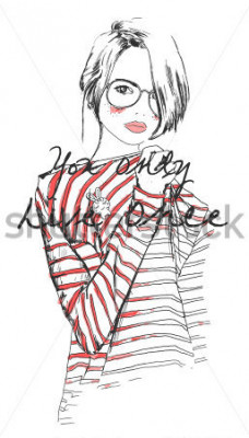 Poster desenho de moda menina de desenho com aquarela