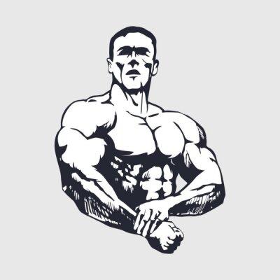 Poster Desenho homem muscular - Bodybuilder