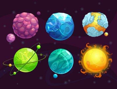 Poster Desenhos animados fantasia alien planetas conjunto