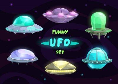 Poster Desenhos animados fantástico conjunto ufo