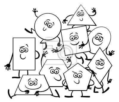 Desenhos Animados Geometricos Para Colorir Livro Cartazes Para A