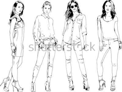Poster desenhos vetoriais sobre o tema da linda garota desportivo magro em roupas casuais em várias poses pintaram o esboço de mão de tinta sem fundo