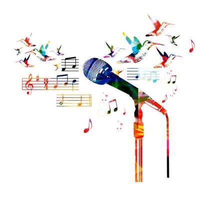 Poster Design de microfone colorido