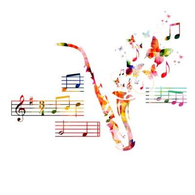 Poster Design do saxofone colorido com borboletas
