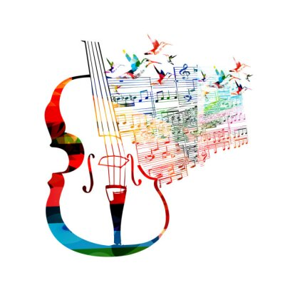 Poster Design Violoncelo colorido com beija-flores
