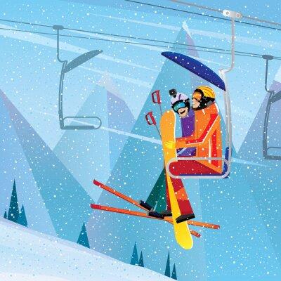 Poster Desportistas, escalar, montanha, aéreo, elevador