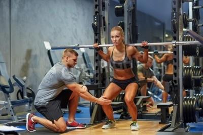 Poster Desporto, aptidão, Trabalho equipe, bodybuilding, pessoas, conceito, jovem, mulher, pessoal, instrutor ...
