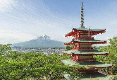 Poster Destino de viagem - Mt. Fuji com pagode vermelho na Primavera, Fujiyos