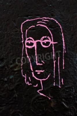 Poster Detalhe de uma parede famosa Lennon em Praga