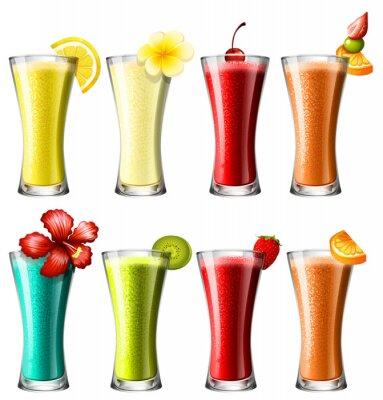 Poster Diferentes tipos de cocktail em vidros