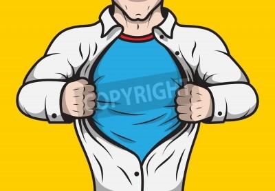 Poster Disfarçado de quadrinhos herói homem adulto sob a tampa abrindo sua camisa modelo