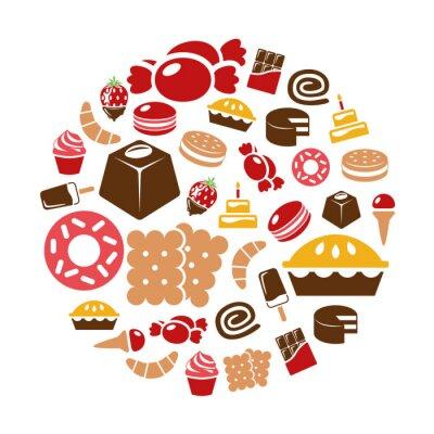 Poster doces ícones em círculo