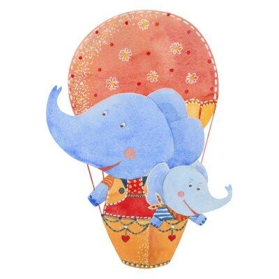 Poster Dois, elefantes, mosca, balão, aguarela, Ilustração