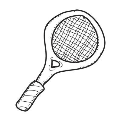Poster Doodle simples de uma raquete de tênis