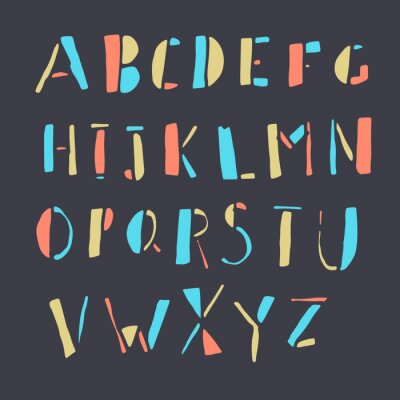 Poster Doodles coloridos do alfabeto desenhado mão