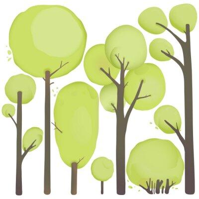 Poster Dos desenhos animados da aguarela Trees Set