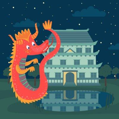 Poster Dragão vermelho bonito ao lado de um castelo à noite, história de conto de fadas para ilustração vetorial infantil
