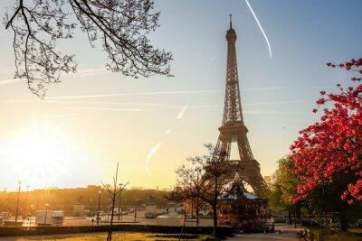 Poster Eiffel, torre, primavera, árvore, Paris, França