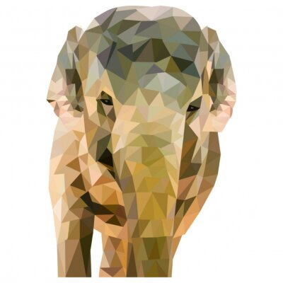 Poster Elefant aus Dreiecken geformt auf weißem Formato em quadra Formato