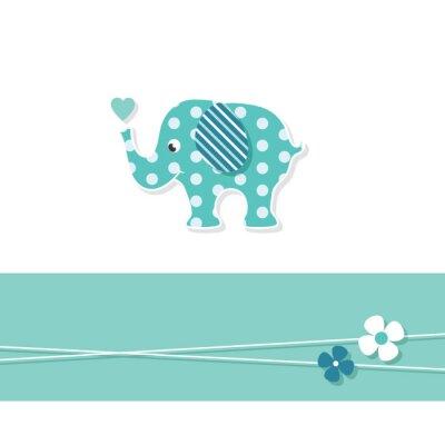 Poster Elefante azul do bebé cartões