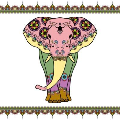 Poster Elefante da cor com elementos da beira no estilo étnico do mehndi. Vector a ilustração em preto e branco isolado no fundo branco