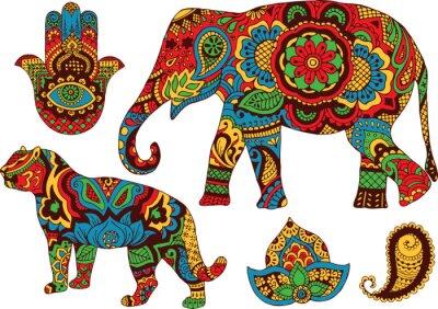 Poster elefante, tigre, Bundas e lótus, pintada à mão no estilo de mehendi