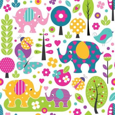 Poster Elefantes bonitos, joaninhas, borboletas e pássaros em um teste padrão colorido da floresta