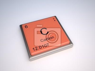 Poster Elemento químico carbono da tabela periódica com o símbolo C