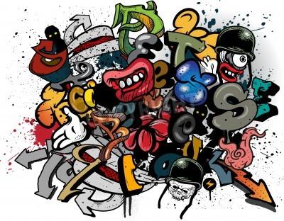 Poster Elementos Graffiti explosão