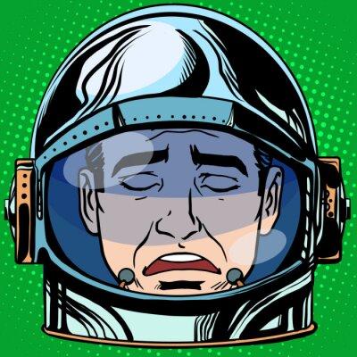 Poster Emoticon tristeza Emoji rosto homem astronauta retro