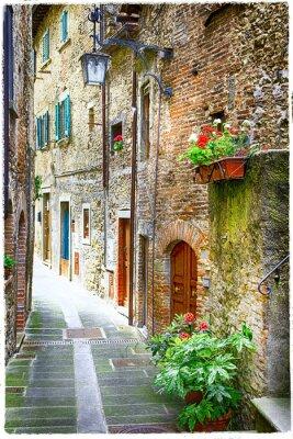 Poster encantadoras ruas antigas cidades medievais de Itália
