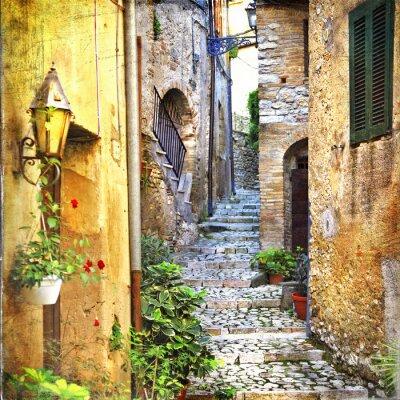 Poster encantadoras ruas antigas do mediterrâneo