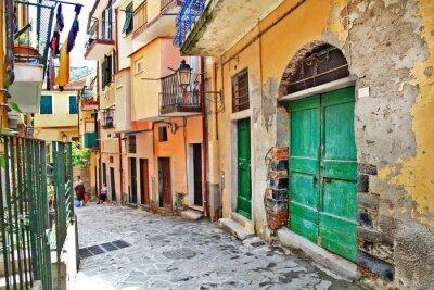 Poster encantadoras ruas mediterrâneo, Cinque Terre, Itália