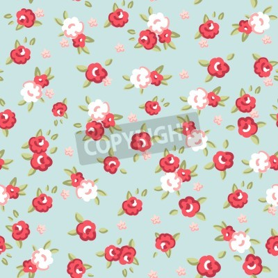 Poster English Rose, Seamless wallpaper pattern with pink roses on blue background, vector illustration