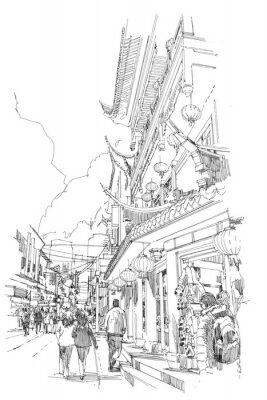 Poster Esboço à mão livre Edifícios chineses e rua da cidade